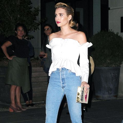 Emma Roberts Style: Denim jeans and white Victoria Beckham top in NEw York