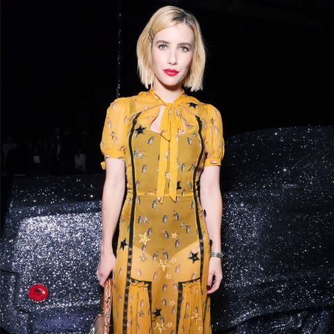 Emma Roberts Style: Yellow dress at Coach NY Fashion Week Show September 2017