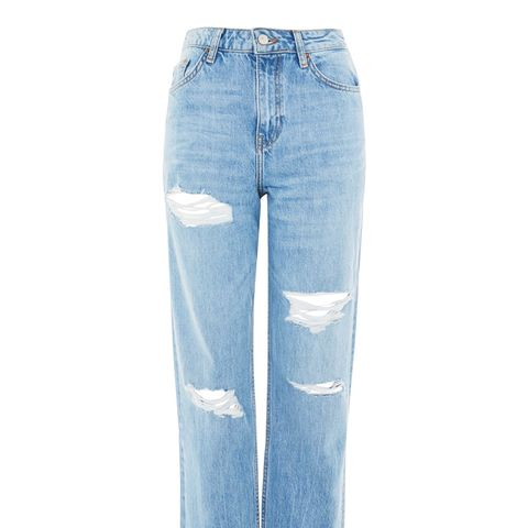 Moto High Waist Ripped Boyfriend Jeans
