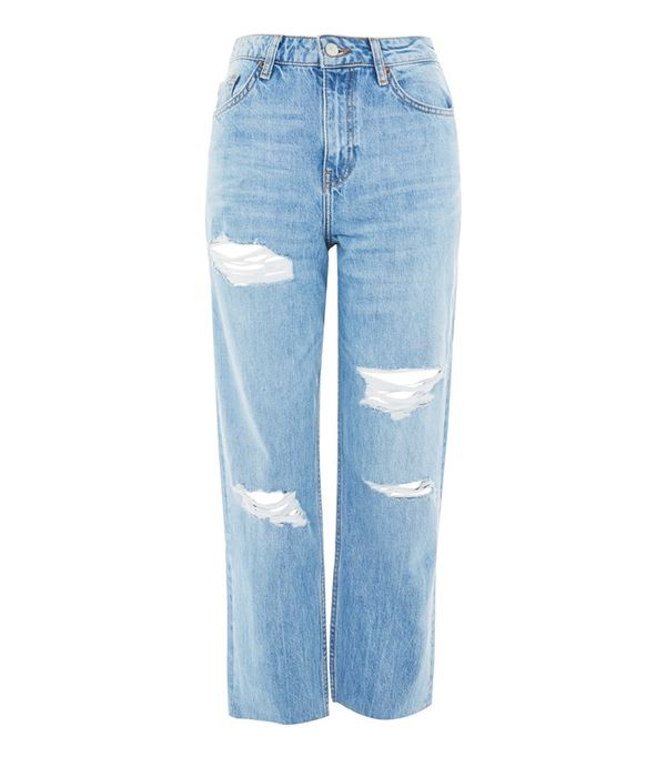 How to wear boyfriend jeans: Topshop MOTO High Waist Ripped Boyfriend Jeans