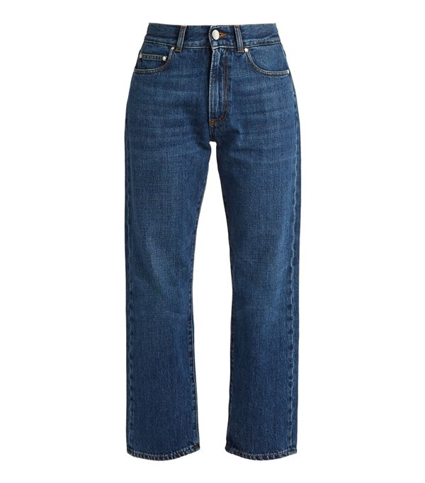 How to wear boyfriend jeans: Alexachung High-Rise Boyfriend Cropped Jeans