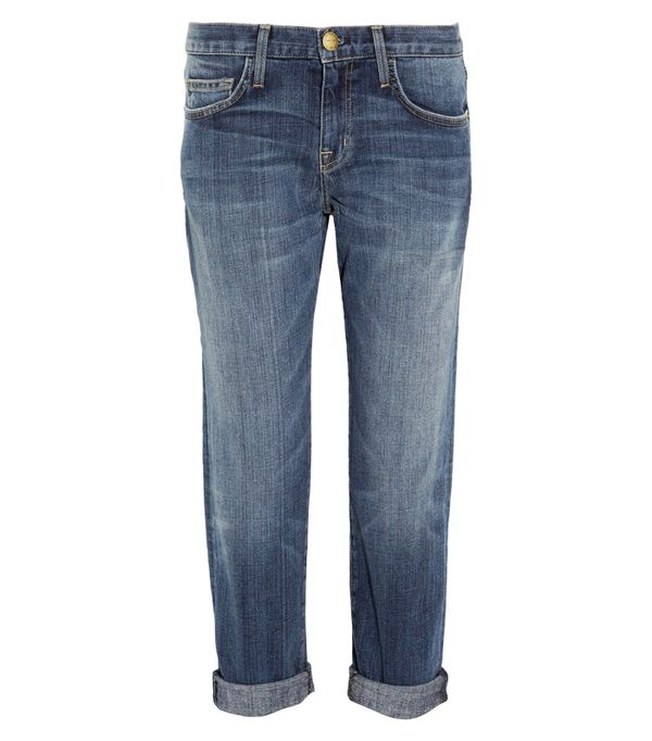 How to wear boyfriend jeans: Current/Elliot The Boyfriend Cropped Mid-Rise Jeans