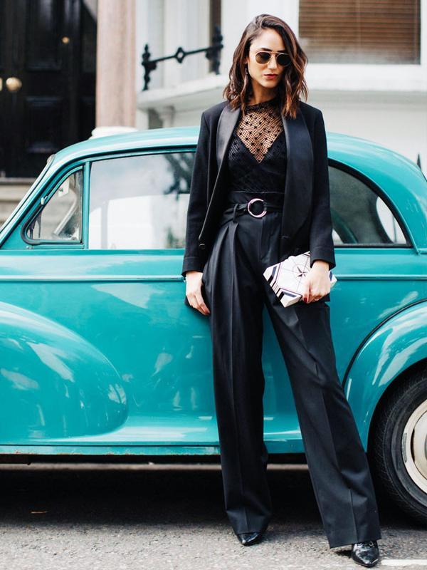 All-black outfits: Soraya Bakhtiar in tailoring