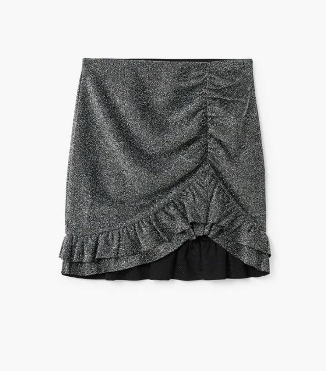the best skirt style for your body type: Mango Ruffle Metallic Skirt