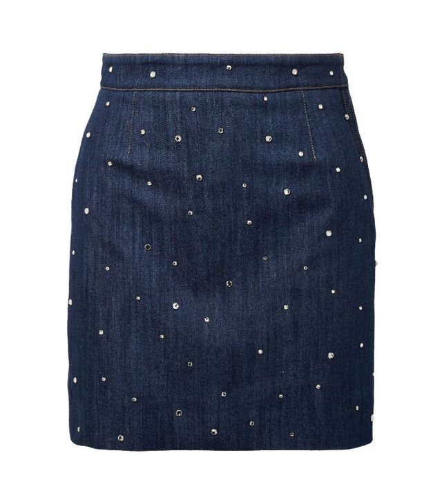 the best skirt style for your body type: Miu Miu Crystal-Embellished Denim Mini Skirt