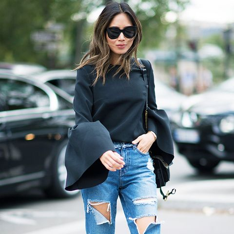 Dressing up jeans: high-heeled mules