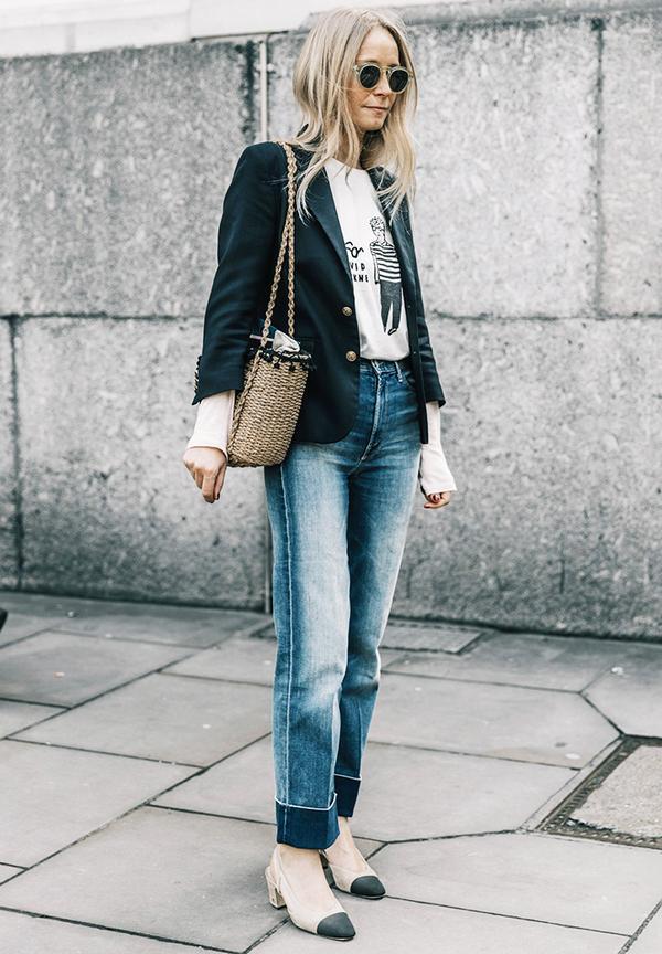 Dressing up jeans: a blazer