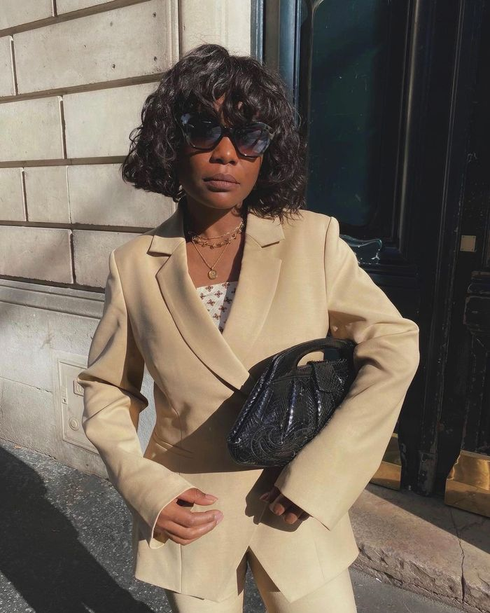 French fashion: Parisian influencer Fran Fyne in a camel suit