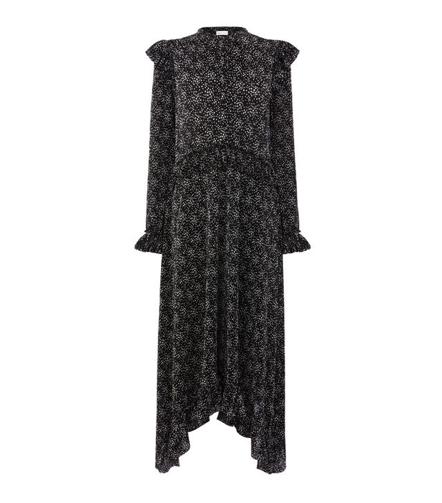 how to look smart in winter: Warehouse Star Plisse Midi Dress