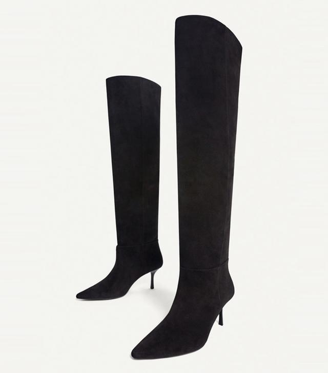 how to look smart in winter: Uterque Black Over-the-Knee High Heel Boots
