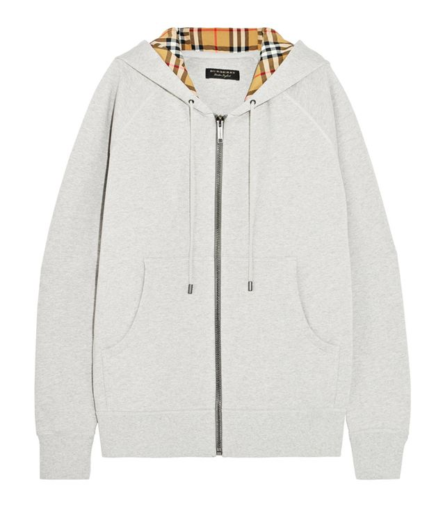 how to look smart in winter: Burberry Oversized Cotton-Terry Hooded Top