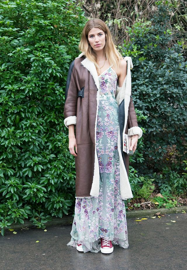 How to Wear Converse: veronika heilbrunner in a shearling coat and dress with converse