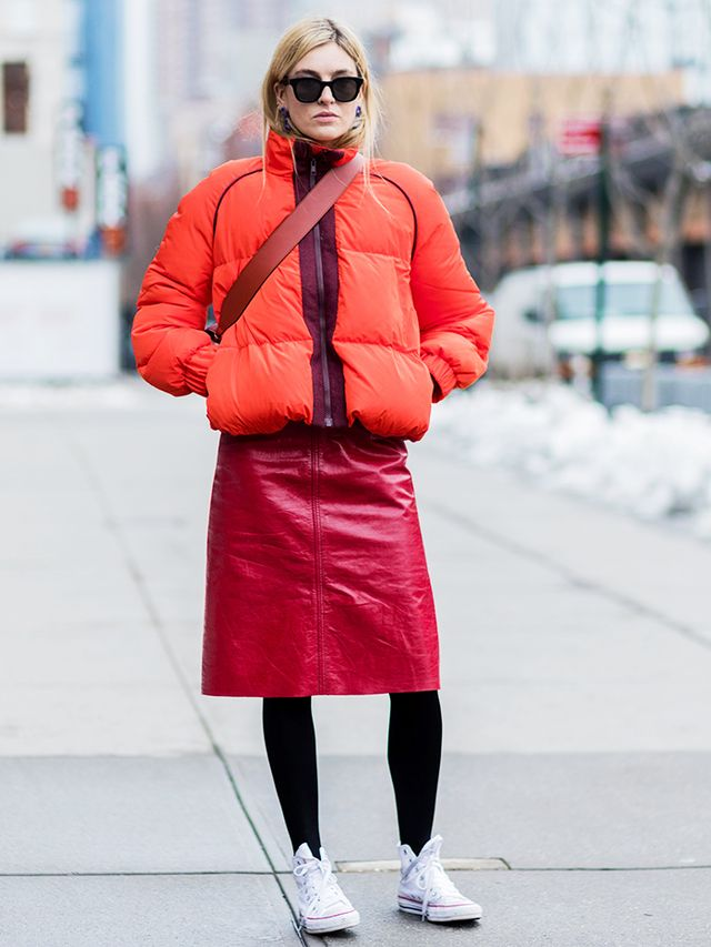 How to Wear Converse: puffer coat and midi skirt on Camille Charrière