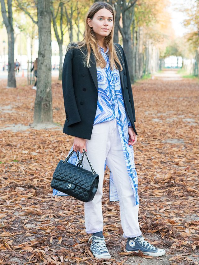 How to Wear Converse: white jeans, Chanel bag, and black jacket