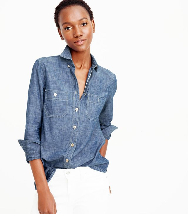 How to cuff your sleeves: J.Crew Selvedge Chambray Shirt