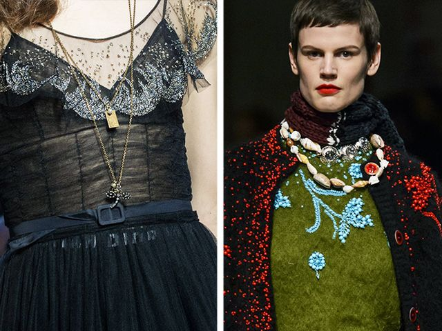 Layered necklaces at Dior and Prada for A/W 17. With that in mind, and a new season chock-full of necklaces on the runway (from classic shell styles at Prada through to talismanic charms at Dior),...