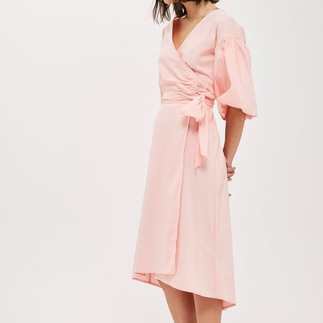Topshop Balloon Sleeve Wrap Midi Dress