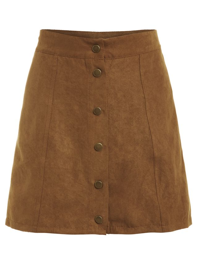 Romwe Faux Suede Buttoned Front Skirt