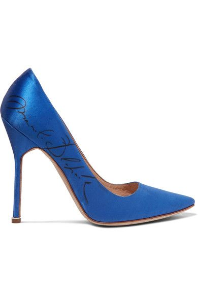 Manolo Blahnik Printed Satin Pumps