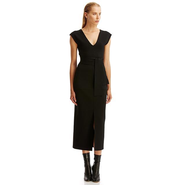 Scanlan Thedore Crepe Knit V-Neck Dress