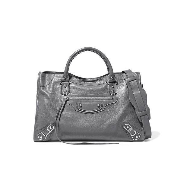 Balenciaga Metallic Edge City Textured-Leather Shoulder Bag