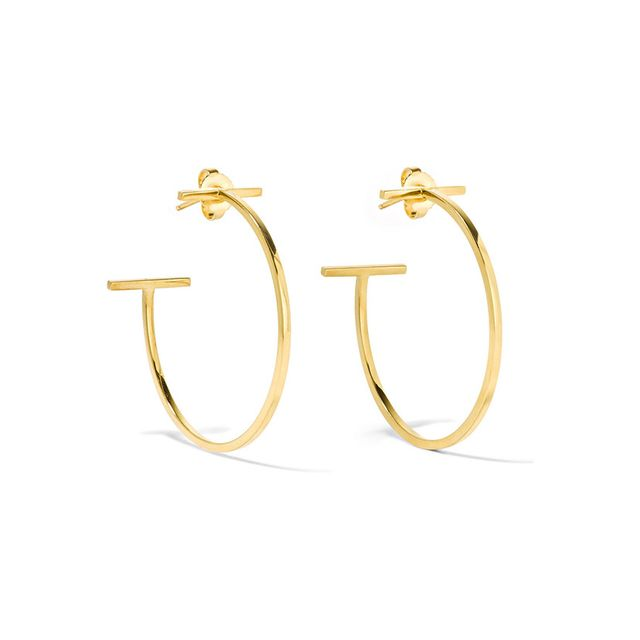 Tiffany & Co T Wire 18 Karat Gold Hoop Earrings