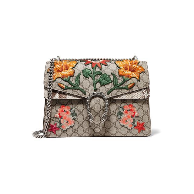 Gucci Dionysus Medium Appliquéd Coated Canvas and Python Shoulder Bag
