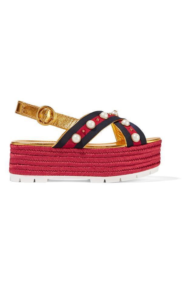 Gucci Embellished Metallic Leather Espadrille Platform Sandals
