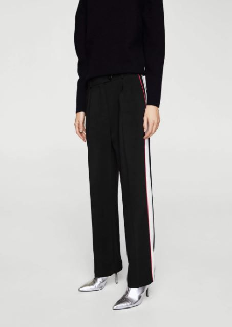 Mango Side Striped Trousers