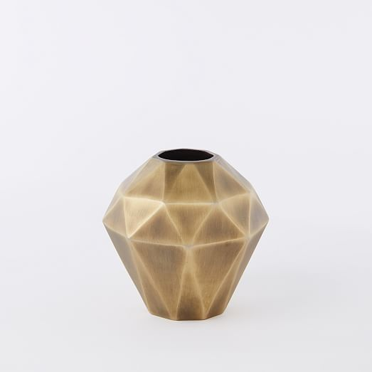 West Elm Faceted Metal Vases