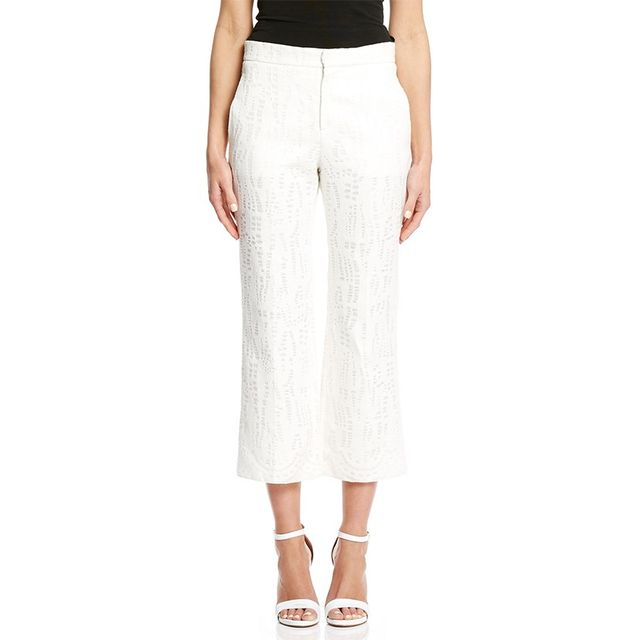 Scanlan Theodore Linen Lace Cropped Trousers