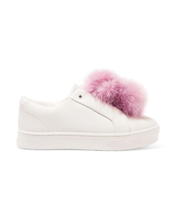 Pom Pom Heels: Sam Edelman Leya Faux Fur-Trimmed Leather Slip-On Sneakers