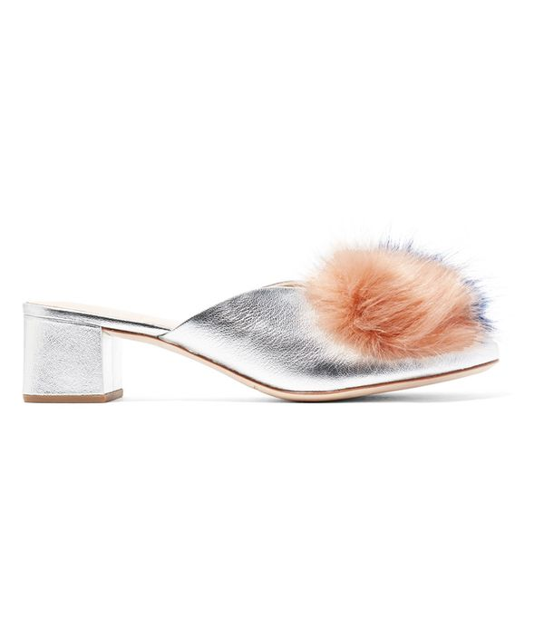 Pom Pom Heels: Loeffler Randall Lulu Faux Fur-Trimmed Metallic Textured-Leather Mules