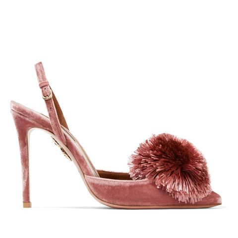 Powder Puff Pompom-Embellished Velvet Pumps
