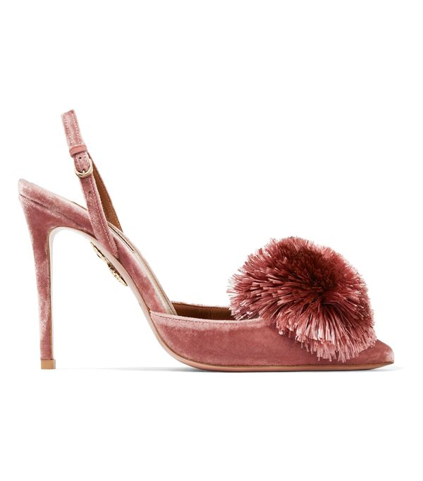 Pom Pom Heels: Aquazzura Powder Puff Pompom-Embellished Velvet Pumps