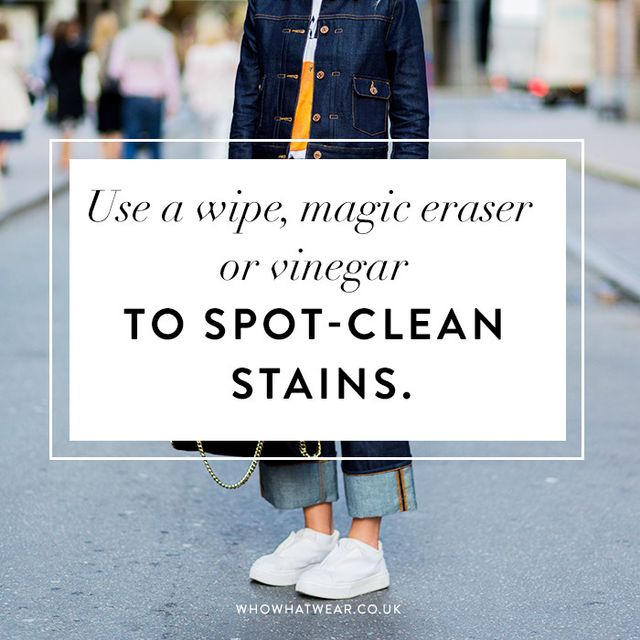 How to clean white sneakers: use a wipe, magic eraser or vinegar, to spot-clean stains