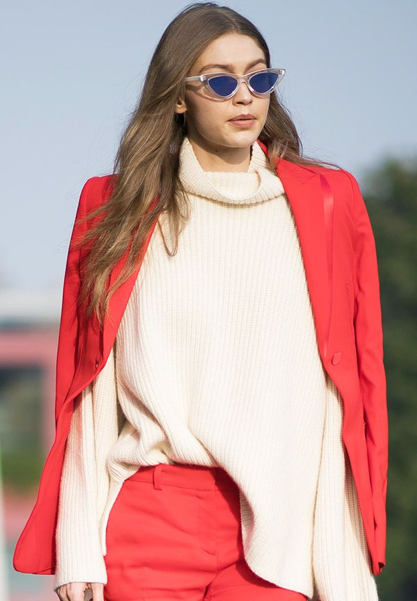 Gigi Hadid Sunglasses: Red Versace suit, Le Specs sunglasses