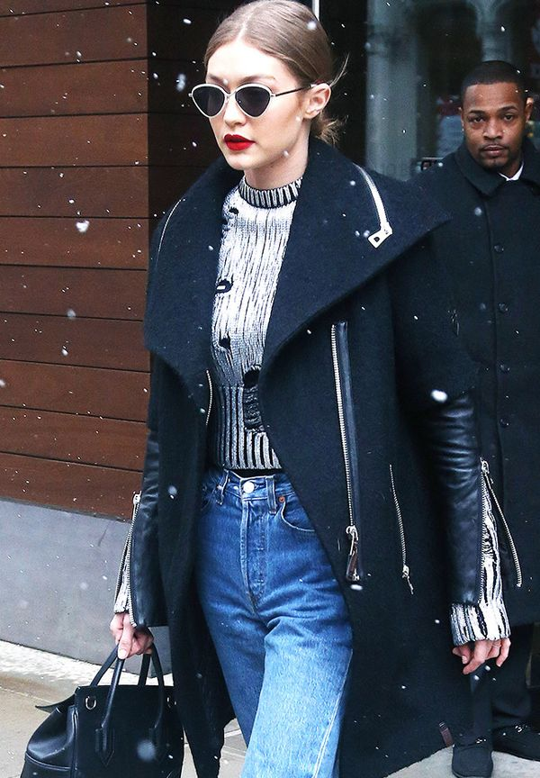 Gigi Hadid Sunglasses: Black coat, silver jumper, Le Specs sunglasses