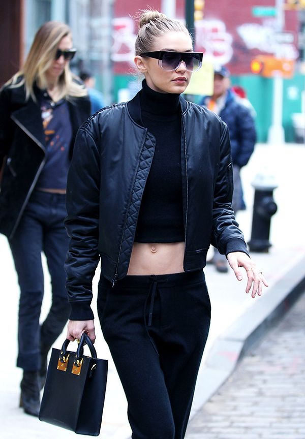 Gigi Hadid Sunglasses: Hadid eyewear, black bomber, and black trousers