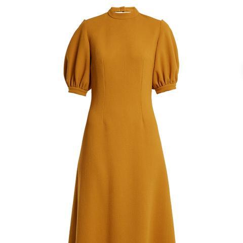 Victoria Cut-Out Back Wool Midi Dress