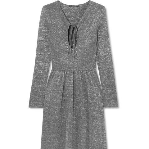Metallic Stretch-Knit Maxi Dress