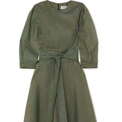 Metallic Cotton-Blend Voile Midi Dress