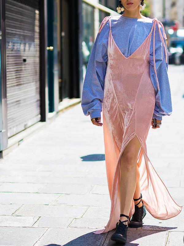 How to wear velvet: sweatshirt under a velvet dress