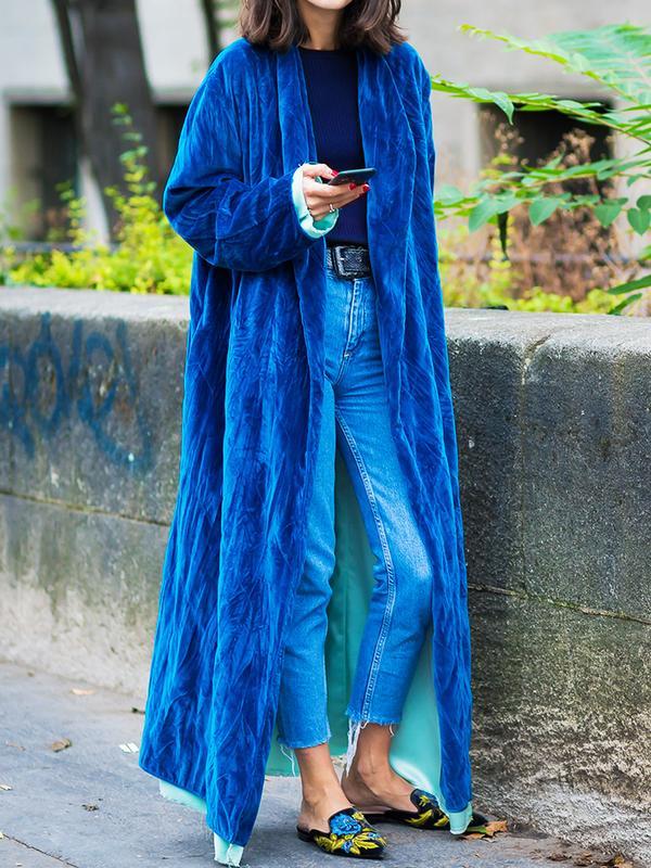 How to wear velvet: blue oversized coat