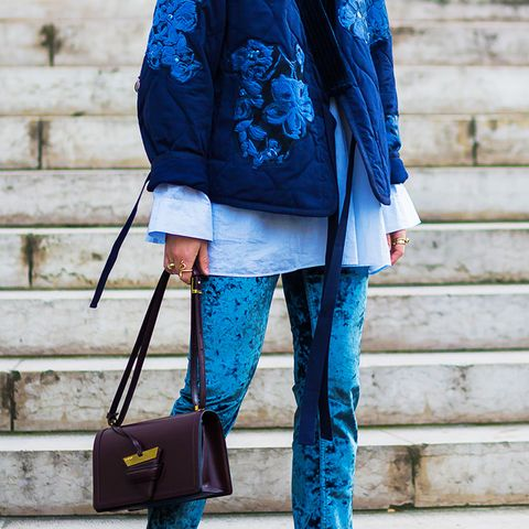 How to wear velvet: Blue velvet trousers