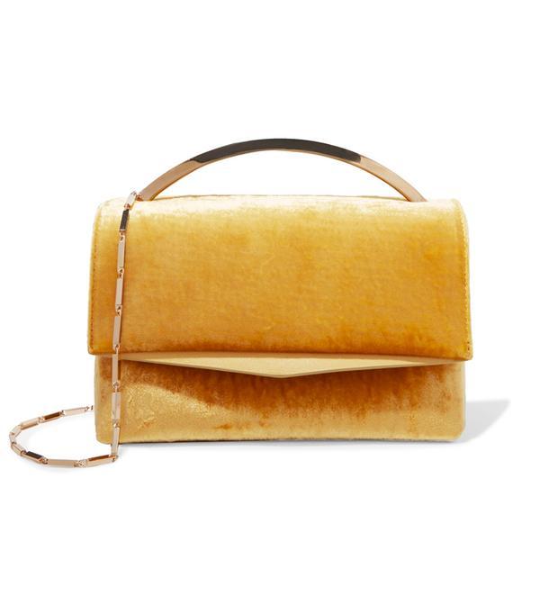 How to wear velvet: Eddie Borgo Boyd Vanity Leather-Trimmed Velvet Shoulder Bag