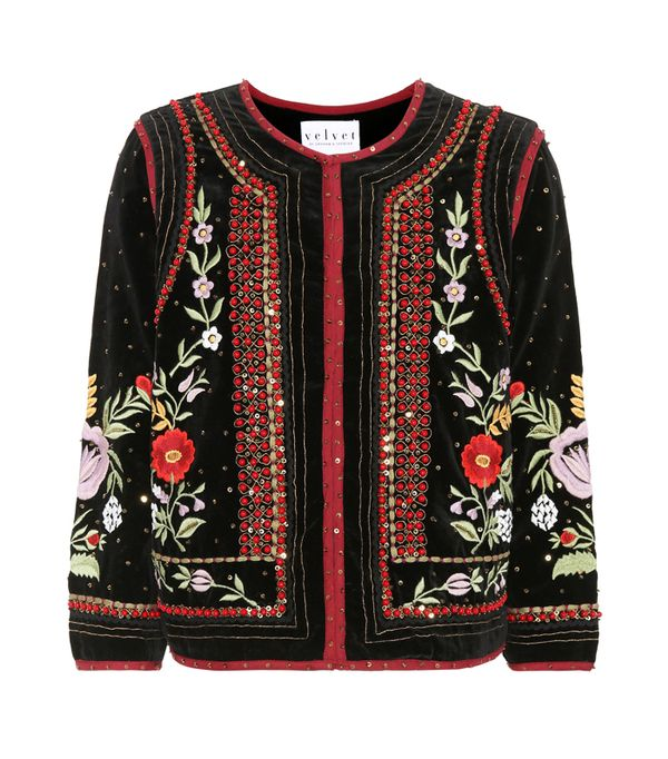 How to wear velvet: Adara Adara Beaded Velvet Blazer