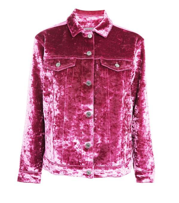How to wear velvet: Topshop Moto Bonded Velvet Denim Jacket