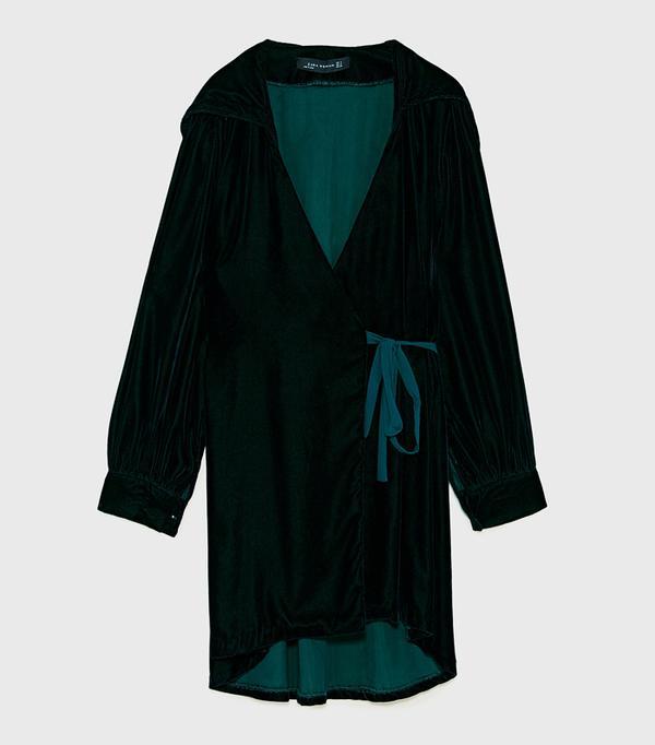 How to wear velvet: Zara Velvet Dress With Hood