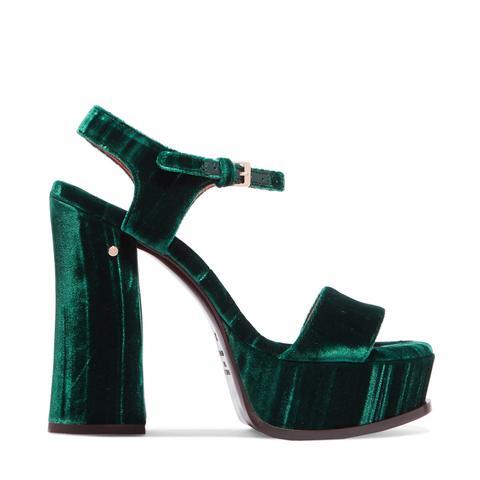 Perla Crushed-Velvet Platform Sandals